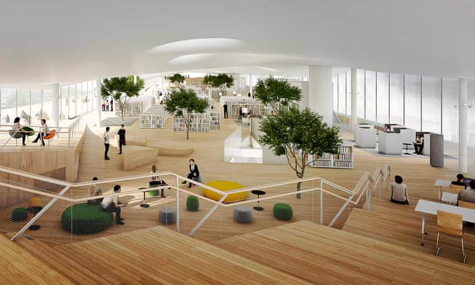 An artist's impression of the top floor of Helsinki's new Oodi library