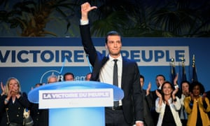 Front National's Jordan Bardella reacts after the announcement of initial results.