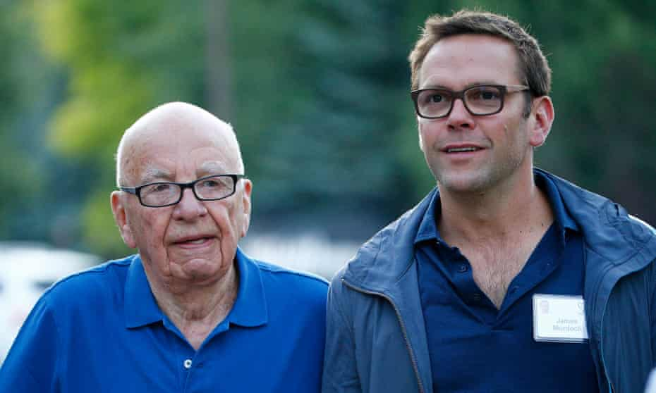 Rupert Murdoch, left, with his son James in Idaho in 2014.