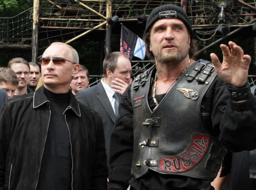 Vladimir Putin with Alexander 'The Surgeon' Zaldostanov of Russina biker gang the Night Wolves
