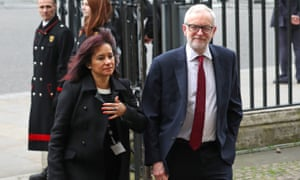 Jeremy Corbyn and Laura Alvarez arriving at Westminster Abbey for a service on Commonwealth Day