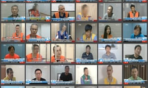 A composite image of some of the people forced to make televised confessions in China.
