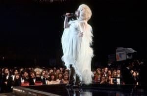 Dolly Parton onstage circa 1977.