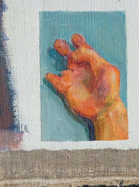 A painting by Suzon Lagarde of her hand.