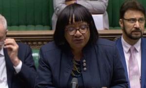 Diane Abbott makes a statement on the deaths in Essex.