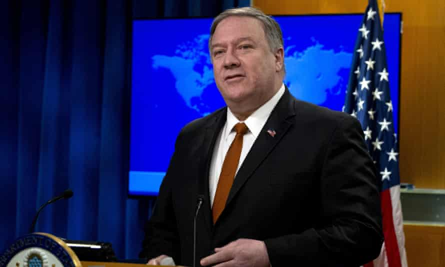 Mike Pompeo speaks during the state department's annual report on human rights, on 13 March in Washington DC.