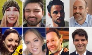 The victims of the attack: (top) Christine Archibald, James McMullan, Alexandre Pigeard and Sebastien Belanger (bottom) Kirsty Boden, Sara Zelenak, Xavier Thomas and Ignacio Echeverria.