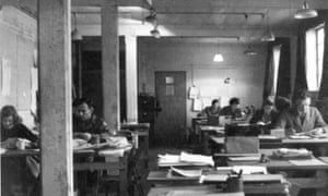 Helene Aldwinckle, left, in the Quiet Room of Hut 6 at Bletchley Park, where she looked for 'unusual trends, standing back a bit from what was going on day to day'.