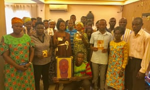 Families of victims of the alleged massacre, pictured in Kumasi, Ghana