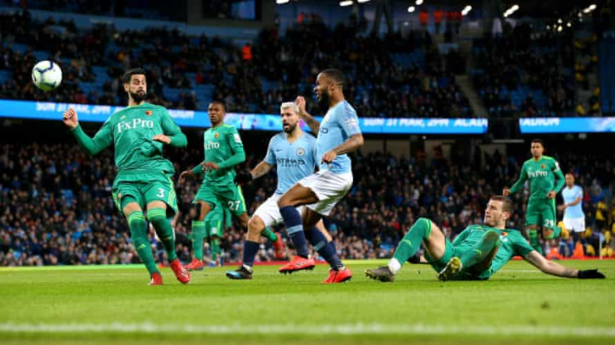 Raheem Sterling puts Manchester City ahead after the referee and linesman decided he was not offside.
