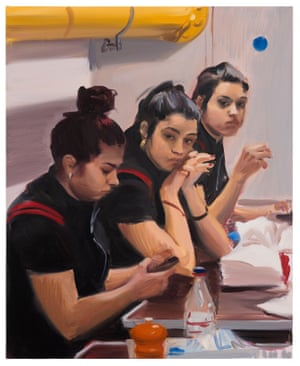 Three Maids, 2018, oil on linen, 80 x 65cm, a painting by artist Caroline Walker.