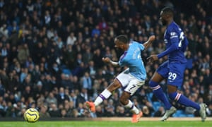Raheem Sterling of Manchester City scores his team's third goal which is later disallowed by VAR.