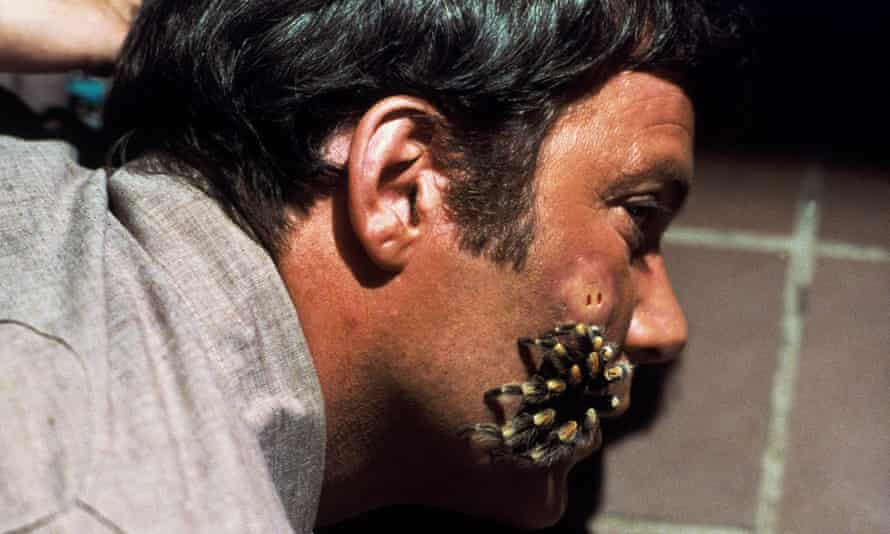 William Shatner succumbs to a tarantula in Kingdom of the Spiders (1977).