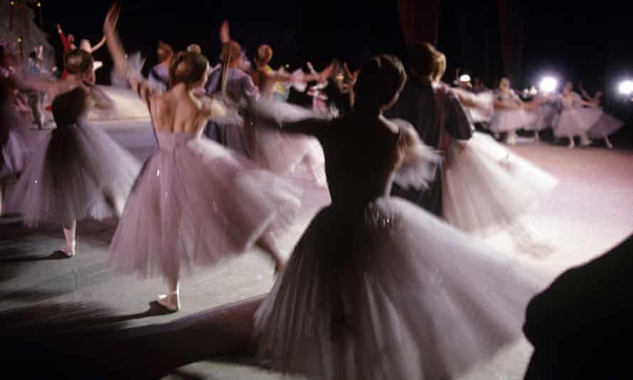 Members of the Bolshoi ballet company on the stage of the Bolshoi theatre in Moscow.