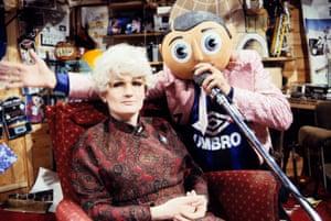 Caroline Aherne as Mrs Merton on Frank Sidebottom's Fantastic Shed Show in 1992