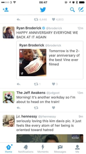 An example of my own Twitter timeline on 13 January. The tweet at the bottom of the feed was actually sent first.