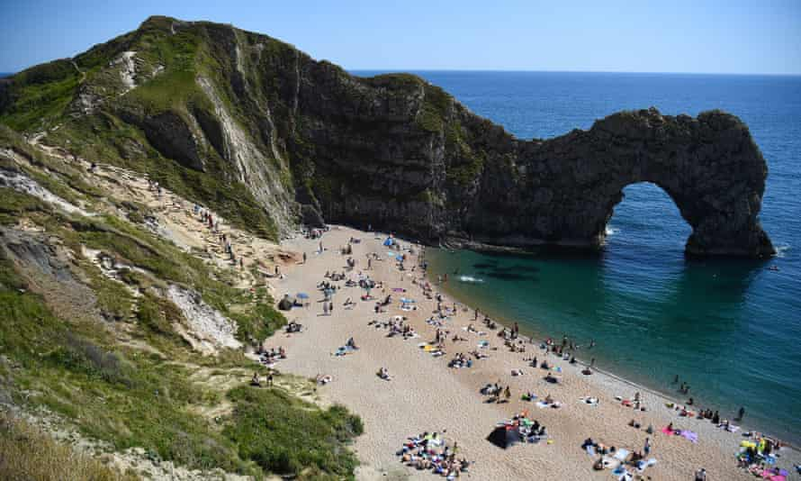 The beach at Durdle Door near Lulworth in Dorset.