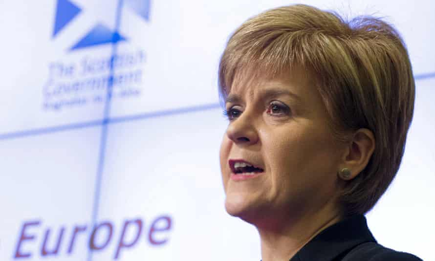Nicola Sturgeon gives an address at the European Policy Centre in Brussels.