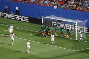 Steph Houghton scores for England against Cameroon at the Women's World Cup in 2019