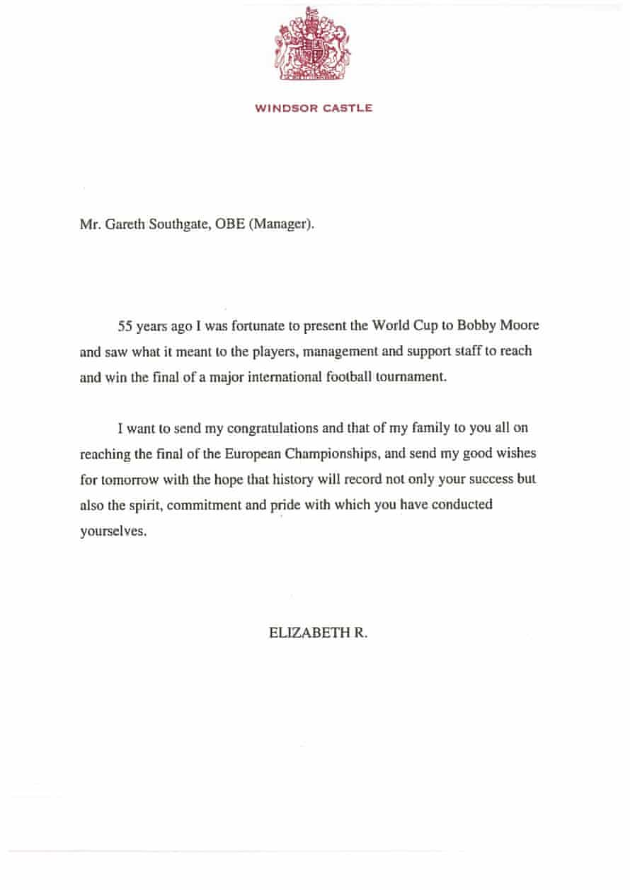 The letter sent by Queen Elizabeth II to England football manager Gareth Southgate.