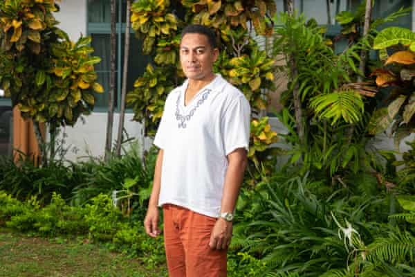 The director of the Environment ministry, Soseala S Tinilau, outside the Tuvalu government buildings in Funafuti