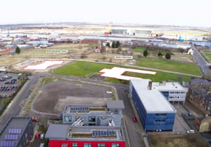 An aerial view of the Boho X site, marked with proposed tower positions.