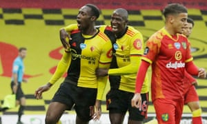 Watford's Danny Welbeck (left) celebrates after his splendid finish gave the Hornets their second goal.