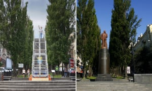 The pedestal now (left), and the pedestal with Lenin