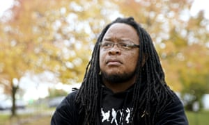 Marlon Anderson, the security guard who was rehired after being fired, in Madison, Wisconsin, on 17 October.
