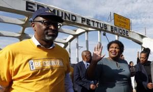 Stacey Abrams corsses the Edmund Pettus Bridge in Selma, Alabama, on 1 March.