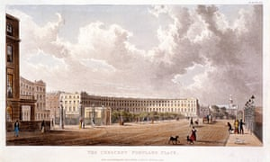 The Crescent in Portland Place, Marylebone, in 1822. Sections of London were sealed off from the public.