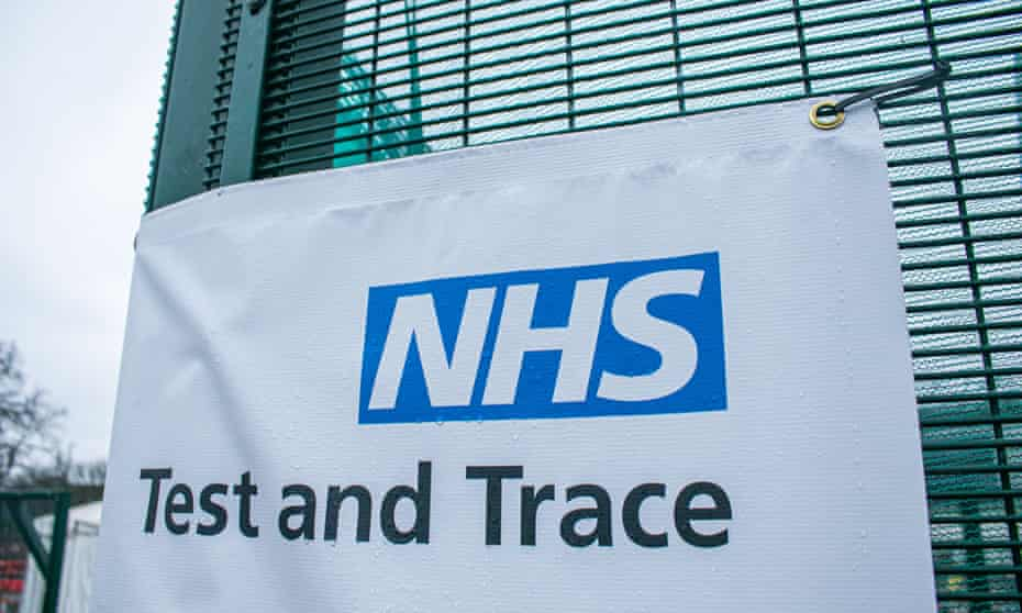 an NHS test and trace banner