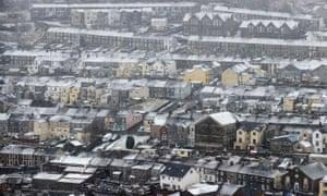 Snow falls on the town of Ferndale in Rhondda Cynon Taf