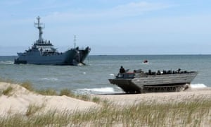 Nato troops during a landing exercise off the coast of Ustka, northern Poland.