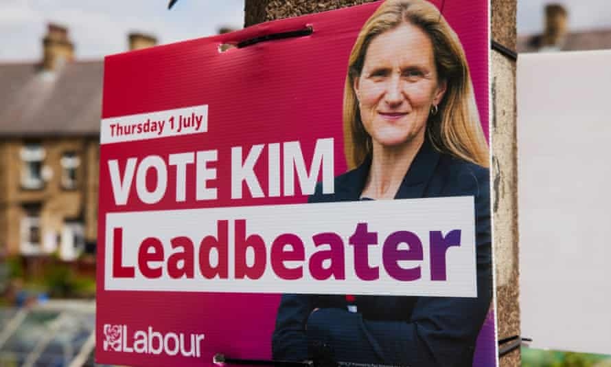 An election campaign placard for the Labour candidate, Kim Leadbeater