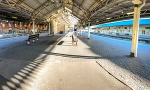 Bristol Temple Meads train station is empty of rush-hour commuters and travellers due to the coronavirus outbreak