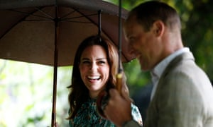 The Duke and Duchess of Cambridge at the White Garden in Kensington Palace, London.