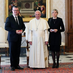 Pope Francis meets the Croatian prime minister and his wife at the Vatican on Thursday.