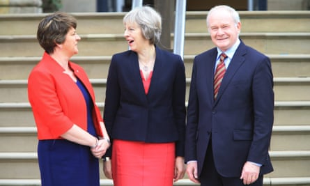 Theresa May meets Arlene Foster and Martin McGuinness in Belfast in July