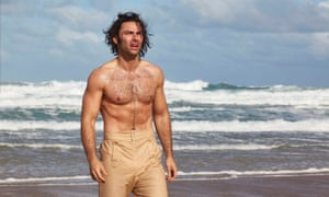 A chest moment to rival Ursula Andress ... Aidan Turner as Ross Poldark.