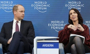 Prince William and Jacinda Ardern at Davos mental health discussion.