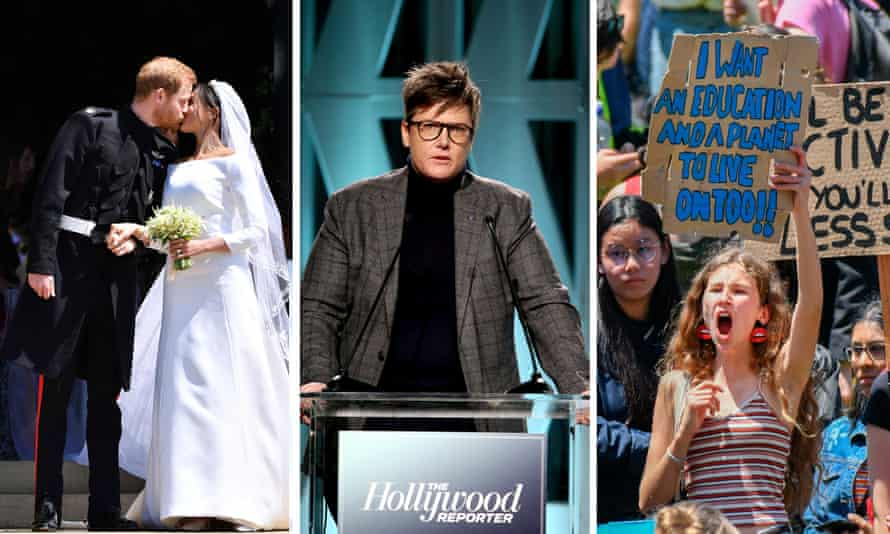 Composite 2018 best moments. L-R: Prince Harry and Meghan Markle kissing, Hannah Gadsby, teenagers protesting climate change