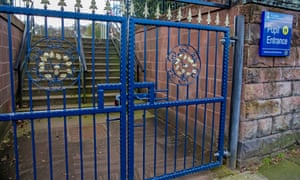 Locked gates at a school in Woolton, Liverpool