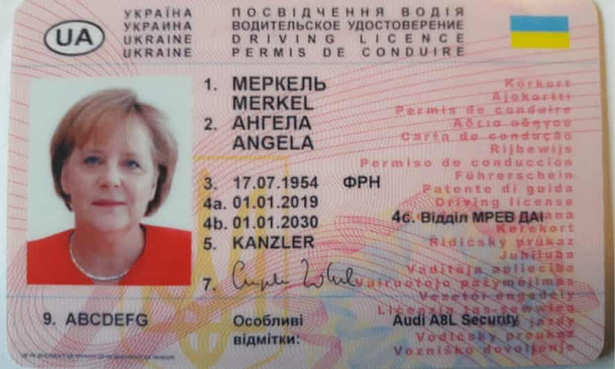 A driving licence in the name of Angela Merkel.