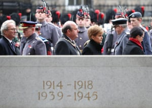 First minister Nicola Sturgeon at a Remembrance Sunday service at the Stone of Remembrance