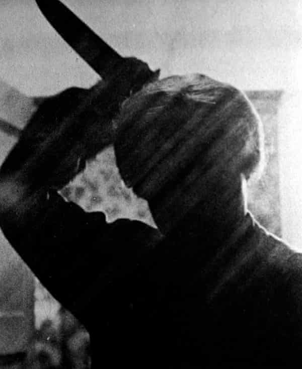 Anthony Perkins as Norman Bates in the shower scene from Alfred Hitchcock's film version of Psycho.