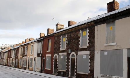 A row of empty terraced houses in Anfield, Liverpool