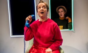 Athena Stevens as Scrounger and Leigh Quinn in Scrounger at Finborough theatre, London.