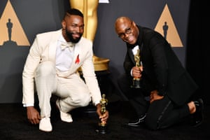 Tarell Alvin McCraney and Barry Jenkins, winners of best adapted screenplay for Moonlight.
