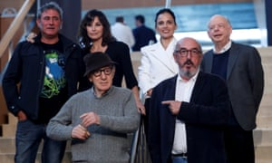 Woody Allen (front left) in San Sebastian with Spanish producer Jaume Roures and (rear, from left), actors Sergi Lopez, Gina Gershon, Elena Anaya and Wallace Shawn.